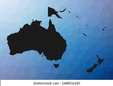 Oceania geometric map. Stencil shape of Oceania in low poly style. Attractive continent vector illustration.