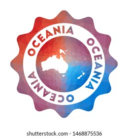 Oceania low poly logo. Colorful gradient travel logo of the continent in geometric style. Multicolored polygonal Oceania rounded sign with map for your infographics.