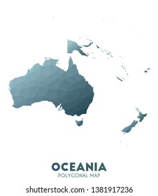 Oceania Map. actual low poly style continent map. Splendid vector illustration.