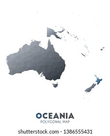 Oceania Map. actual low poly style continent map. Unusual vector illustration.