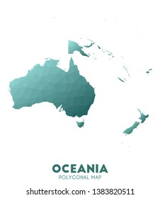 Oceania Map. admirable low poly style continent map. Adorable vector illustration.