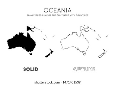 Oceania map. Blank vector map of the Continent with countries. Borders of Oceania for your infographic. Vector illustration.