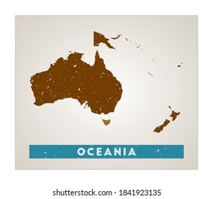Oceania map. Continent poster with regions. Old grunge texture. Shape of Oceania with continent name. Attractive vector illustration.