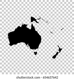 Oceania map isolated on transparent background. Black map for your design. Vector illustration, easy to edit.