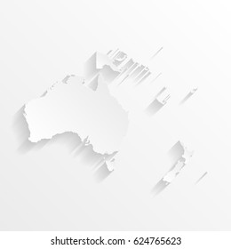 Oceania Map with shadow. Cut paper isolated on a white background. Vector illustration.