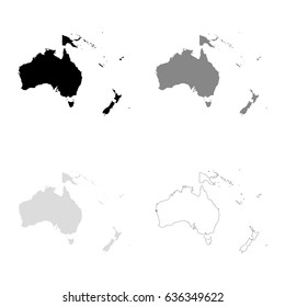 Oceania maps in black, gray and line art. High detailed vector map, easy to edit.