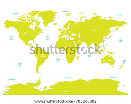 Oceanographical Map World Labels Oceans Seas Stock Vector Royalty