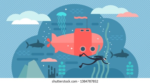 Oceanography vector illustration. Flat tiny water life study person concept. Science about underwater wildlife. Ocean and sea research for fish and fauna creatures. Submarine and scuba biological work