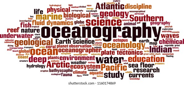 Oceanography word cloud concept. Vector illustration