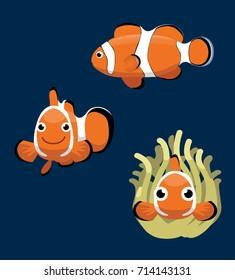 Ocellaris Clownfish Cartoon Vector Illustration