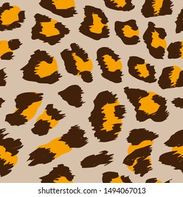 Ocelot pattern design - funny  drawing seamless leopard pattern. Lettering poster or t-shirt textile graphic design. / wallpaper, wrapping paper.