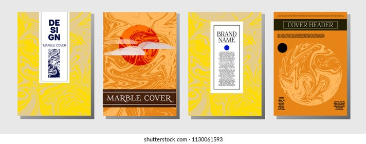 Ocher Marble Ink Texture Cover Set. Liquid Oil Paint A4 Vector Trendy Magazine Design. Ebru Ink Wash Elegant VIP Package Background. Corporate Identity Marble Ink Texture Cover, Paper.