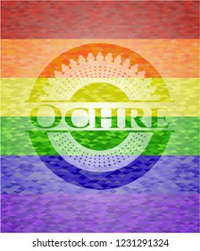 Ochre emblem on mosaic background with the colors of the LGBT flag