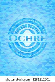 Ochre light blue emblem with triangle mosaic background