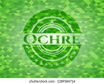Ochre realistic green emblem. Mosaic background