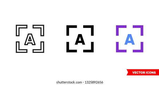 OCR icon of 3 types: color, black and white, outline. Isolated vector sign symbol.
