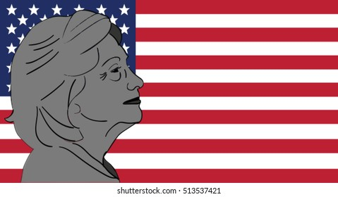 OCT 10, 2016: Vector illustration of  Democratic presidential candidate Hillary Clinton on national flag background done in hand drawn style, Hilllary Clinton portrait.