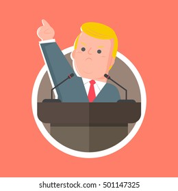 Oct. 20, 2016. Character vector of Donald Trump giving a speech