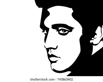 Oct, 2017: Black vector linear portrait illustration of a famous singer Elvis Presley on a white background.