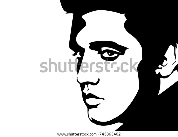 Oct 2017 Black Vector Linear Portrait Stock Vector (Royalty Free