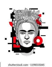 Oct 9, 2018: Frida Kahlo. Geometric modern painting. Vector illustration hand drawn.
