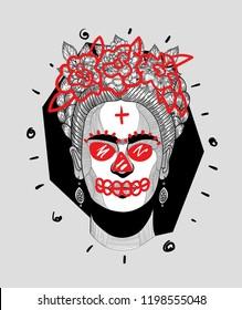 Oct 9, 2018: Frida Kahlo. Crazy modern painting. Vector illustration hand drawn.