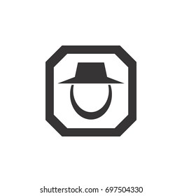 octagon with beard man logo design vector
