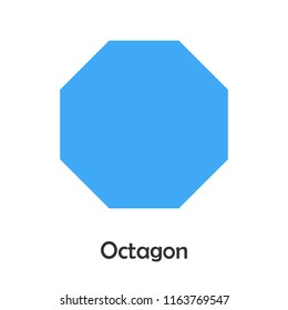 Octagon in cartoon style, card with geometric shape for kid, preschool activity for children, vector illustration