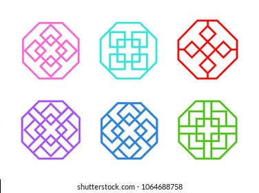 Octagon Chinese window frame in flat vector art