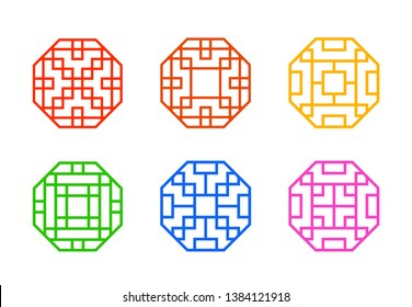 Octagon Chinese window frame with line pattern, vector