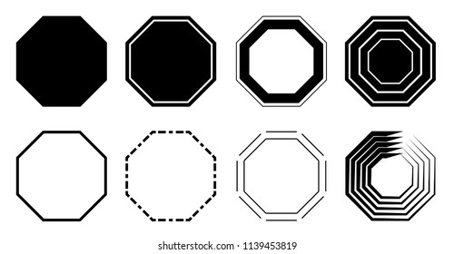 Octagon icon pack. Geometry octagonal eight sided polygon octagon line. Vector illustration
