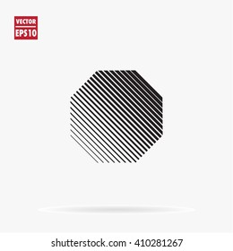Octagon logo template. Unusual flat icon. Minimal geometry. White background. Stock vector.