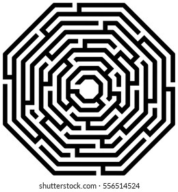 Octagon maze / labyrinth on white background, illustration of educational kids game, for children books and leisure, with solution