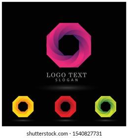 Octagon Modern Logo. Symbol & Icon Vector Template.