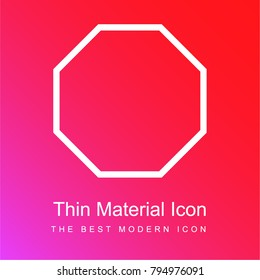 Octagon outline shape red and pink gradient material white icon minimal design