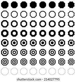 Octagon set - vector version