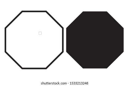 octagon shapes with outlines and fill colors, fields for logos or symbols, math teaching pictures.