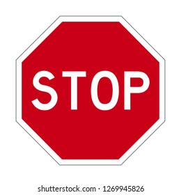Octagon Traffic Stop Sign in red and white