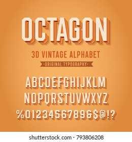 'Octagon' Vintage Retro 3D Sport Alphabet. Original Athletic Department Typeface. Retro Typography. Vector Illustration.