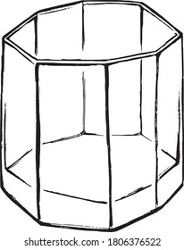 Octagon wide whiskey glass ink drawing black illustration
