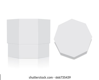 Octagonal box for your design and logo. It's easy to change colors.