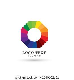 Octagonal Colorful Logo. Symbol & Icon Vector Template.