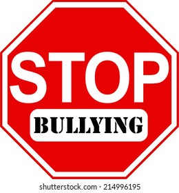 An octagonal Stop sign vector in red and white with Bullying caption.