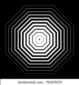 Octagons with zooming effect, decreasing line weights, vector illustration, monochromatic background
