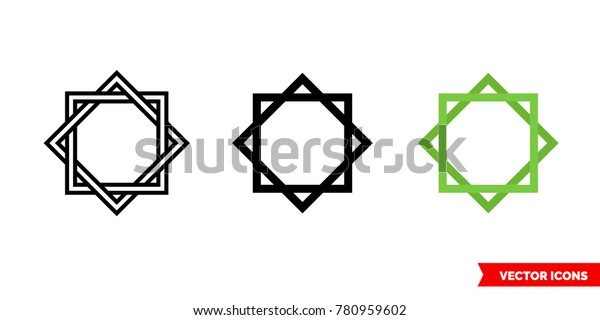 Octagram Icon 3 Types Color Black Stock Vector (Royalty Free