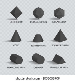 Octahedron and dodecahedron, shapes icosahedron blunted cone, pyramid and hexagonal prism, cylinder and cone, geometric shapes vector illustration