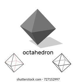 Octahedron. Geometric shape. Isolated on white background.Vector illustration.
