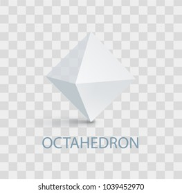 Octahedron geometric shape with sides, headline and image with shade above, three dimensional form vector illustration isolated on transparent background