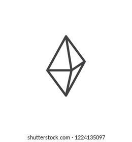 Octahedron geometrical figure outline icon. linear style sign for mobile concept and web design. Triangle octahedron geometric shape simple line vector icon. Symbol, logo illustration. Pixel perfect