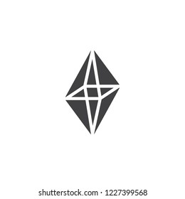 Octahedron geometrical figure vector icon. filled flat sign for mobile concept and web design. Triangle octahedron geometric shape simple solid icon. Symbol, logo illustration. Pixel perfect vector
